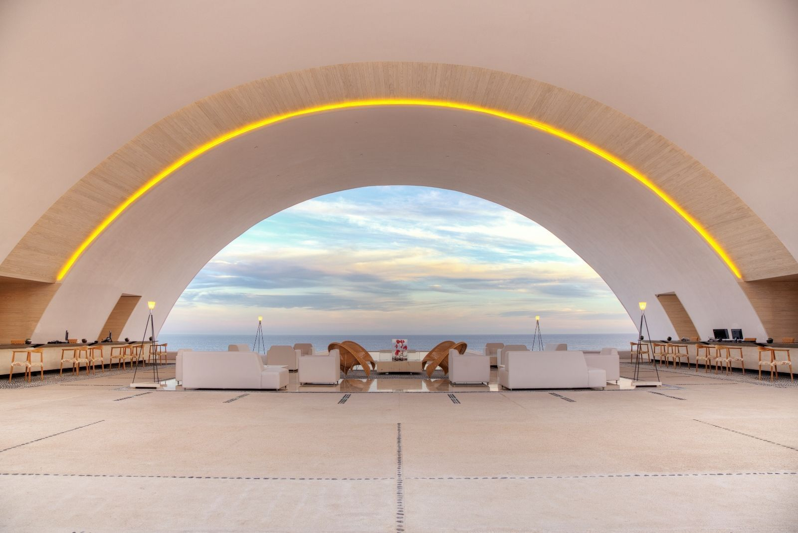 A beautiful arched ceiling in a resort lobby - Marquis Los Cabos