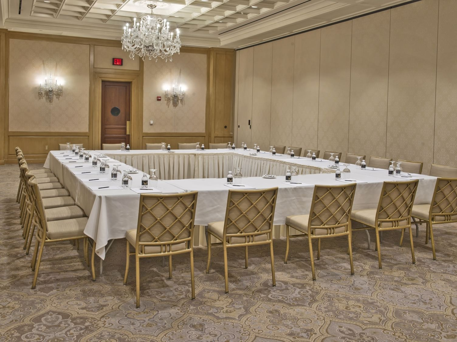 large square table in a ballroom