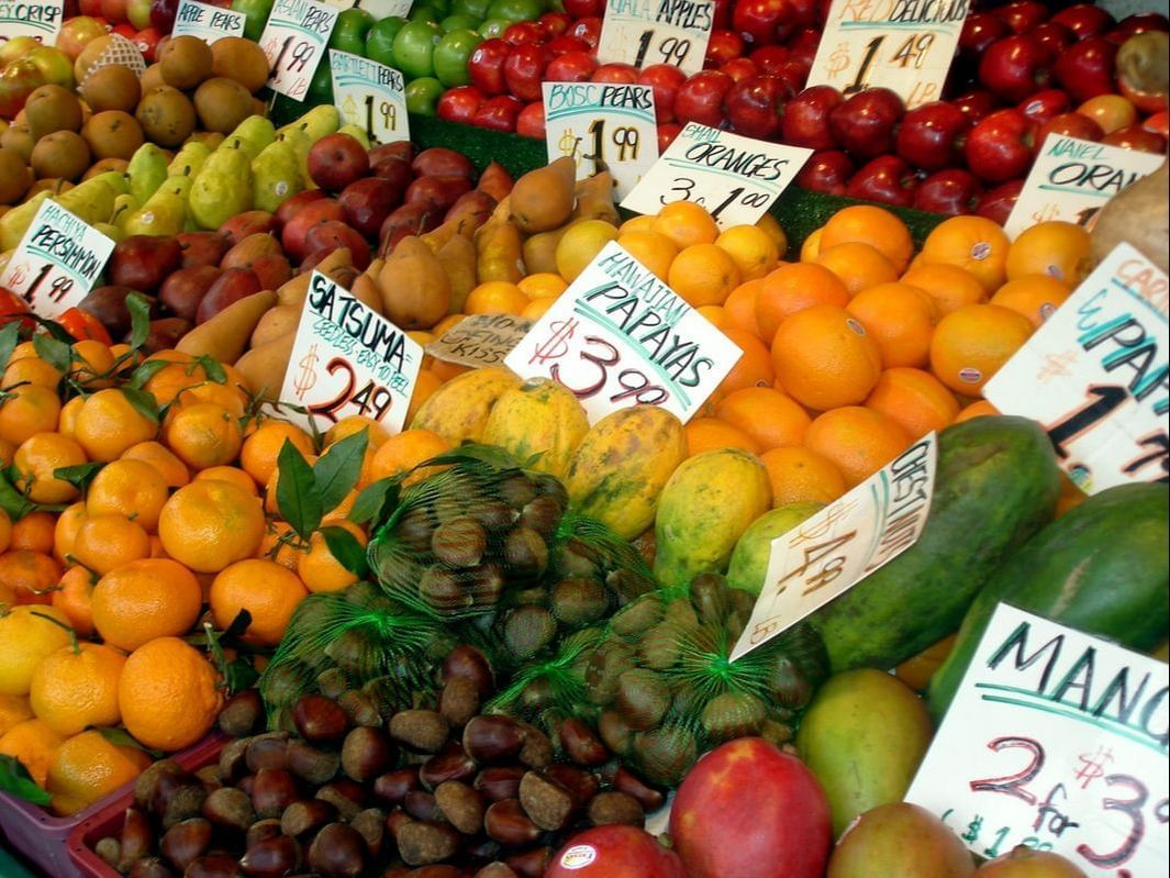 Stand of the fruit at the market near Paramount Hotel Seattle