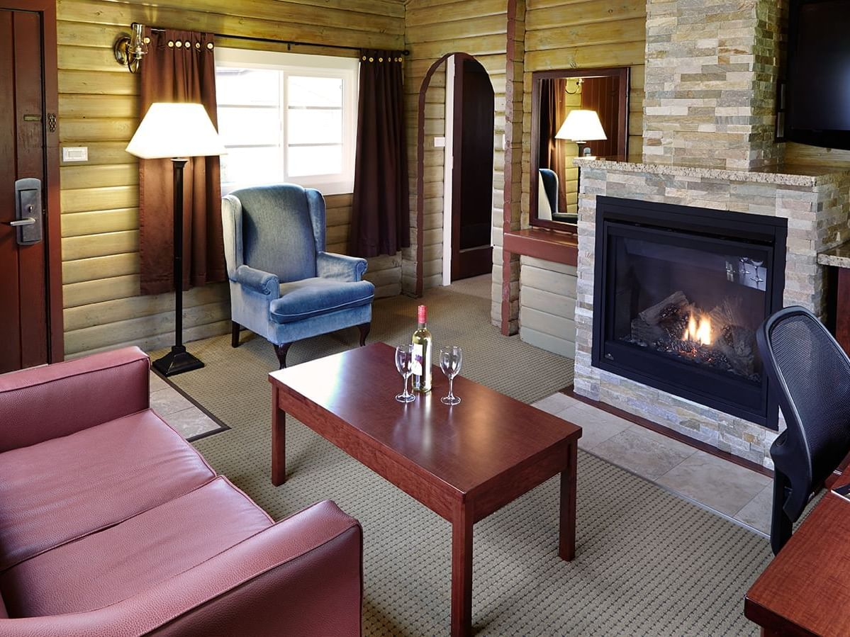 living room with couch and fireplace