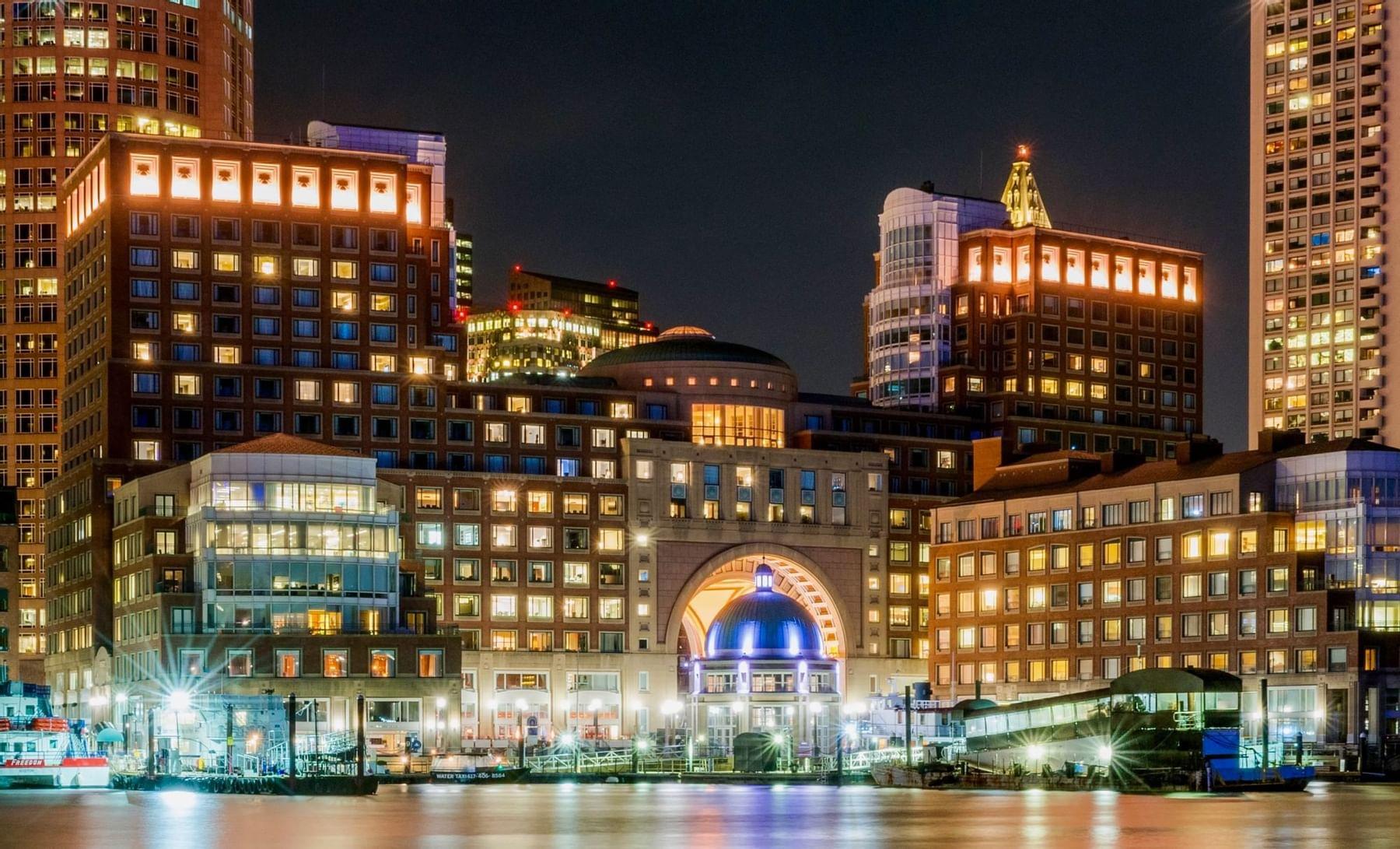 Boston Harbor skyline in the evening
