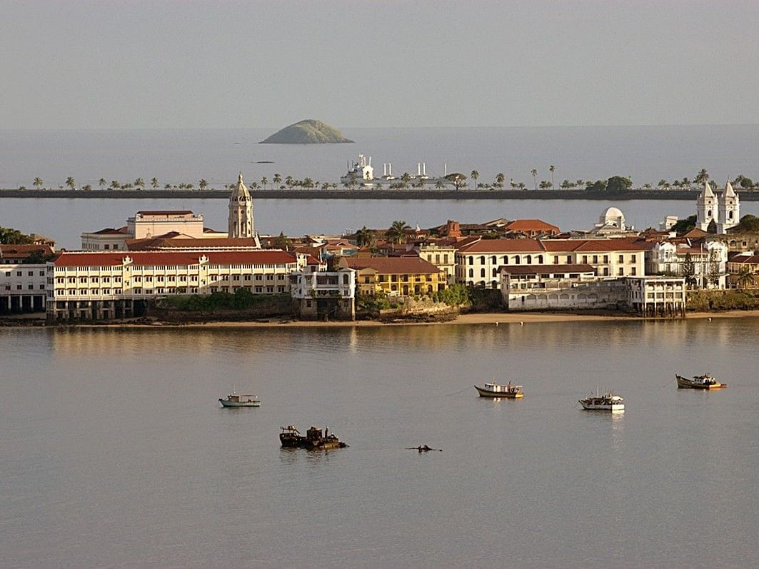 View of the Canal Museum from the sky in Panama