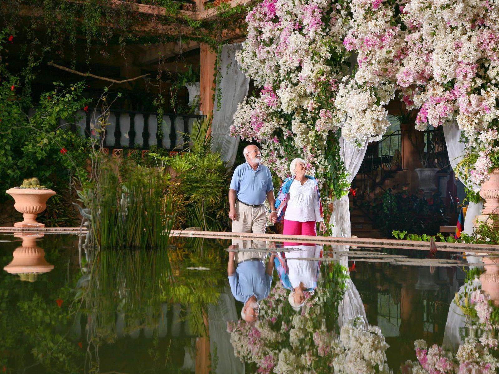 pareja de ancianos mirando flor
