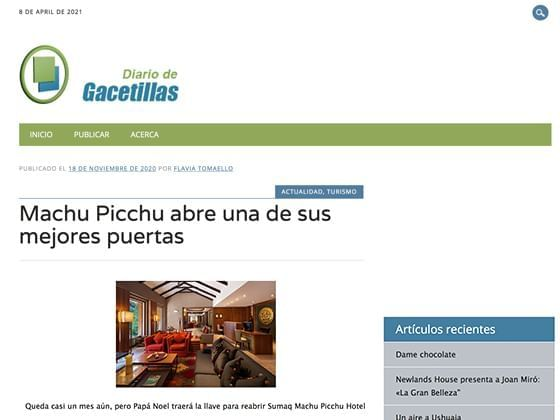 Article image published on Newsletters about Hotel Sumaq