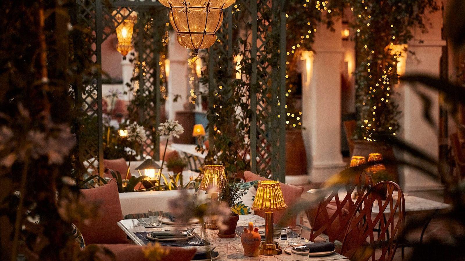 El Patio Restaurant by night at Marbella Club Hotel