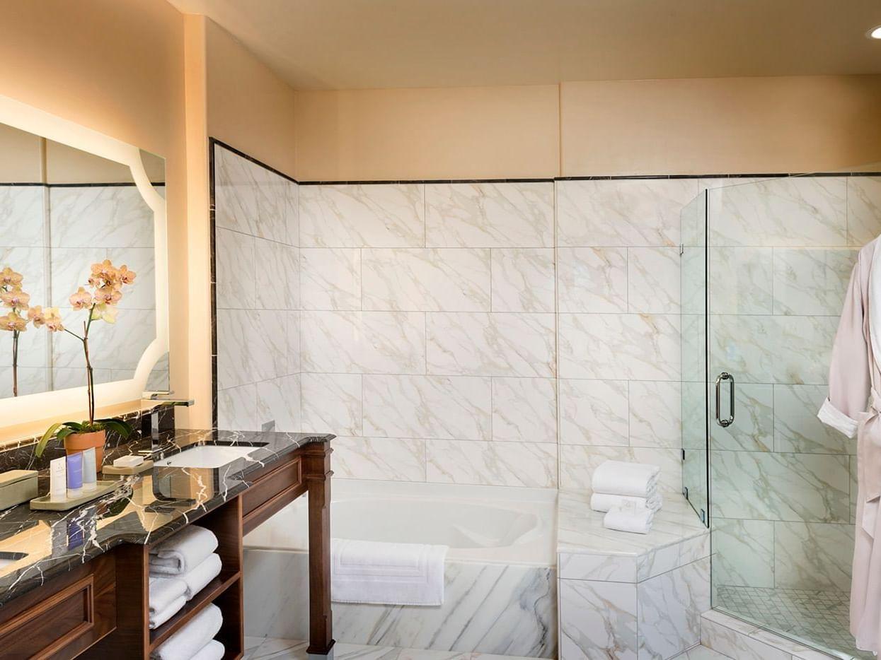 Bathroom sink, tub, and shower