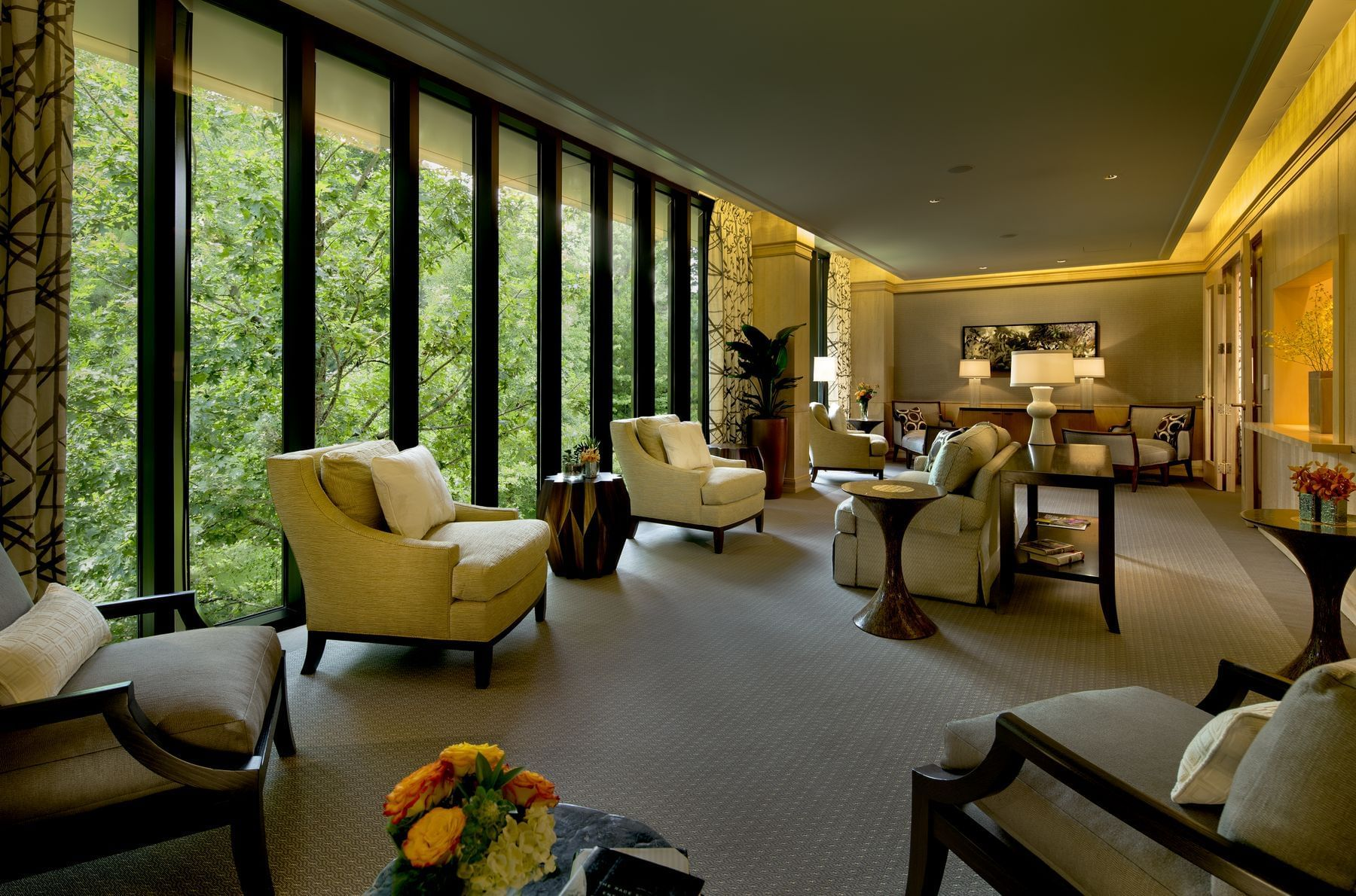 relaxation lounge with chairs and windows