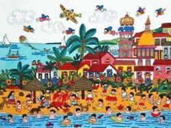 Dibujo de personas disfrutan de la playa.