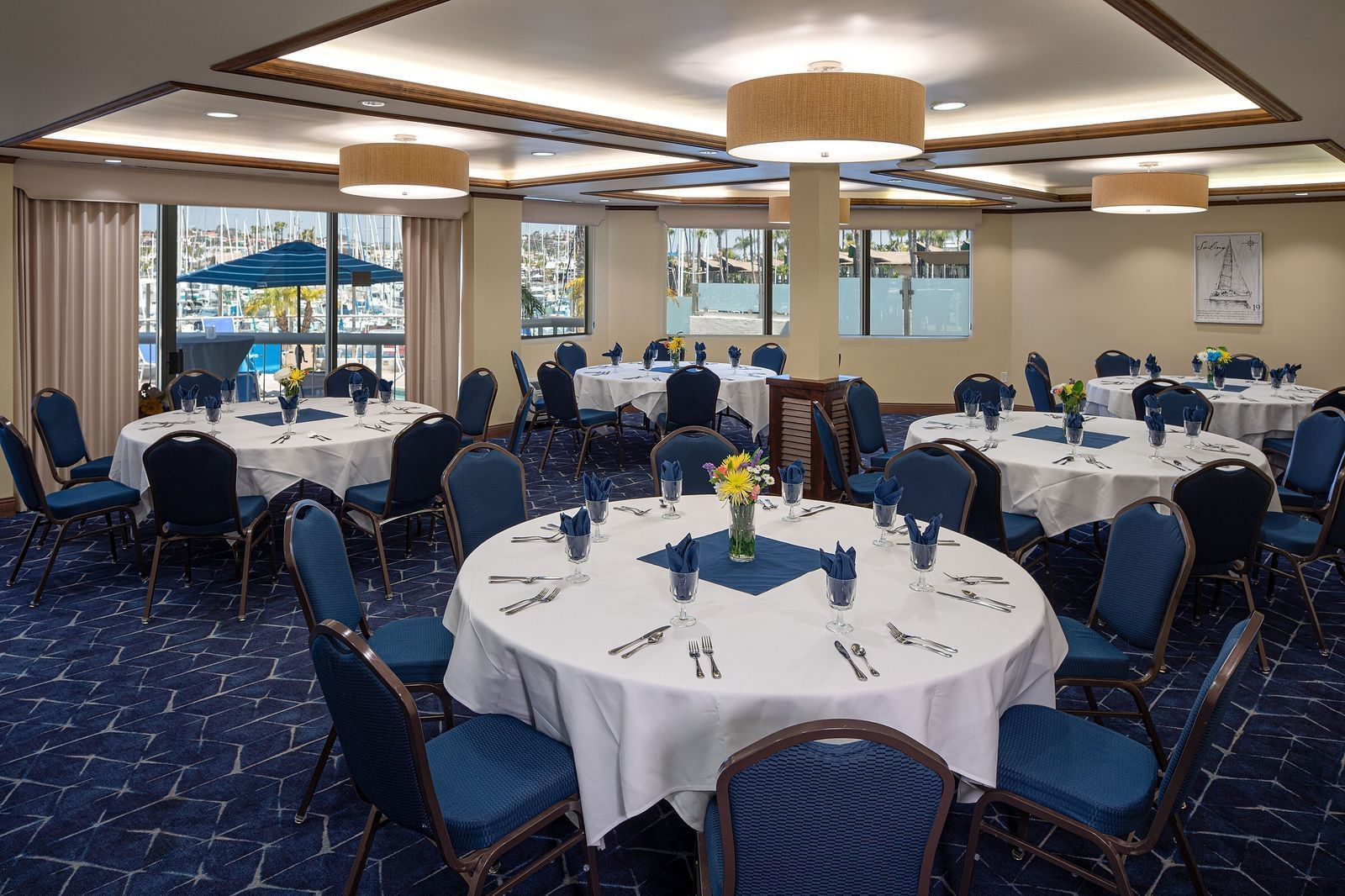 Dining area arranged for special events at Bay Club Hotel