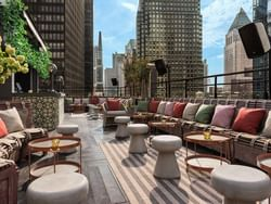 PH-D terrace lounge in the morning  at Dream Midtown New York