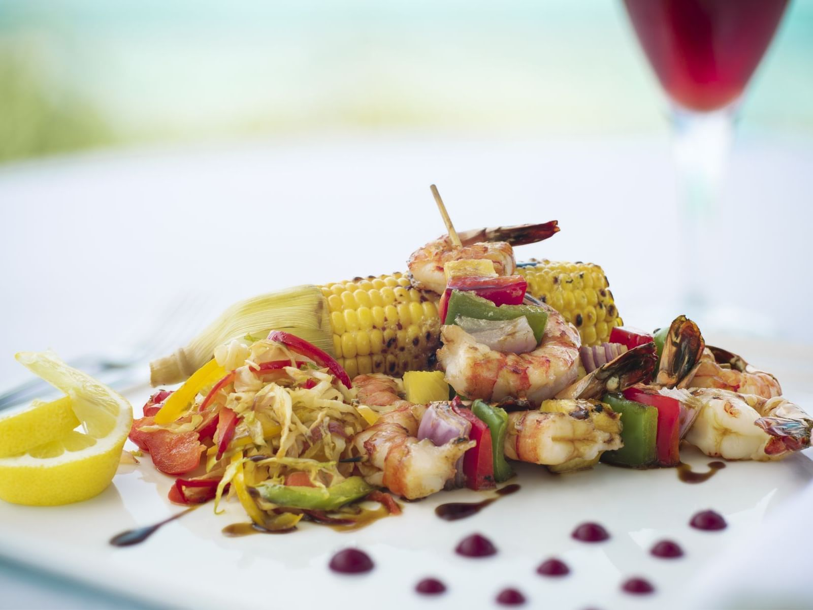 A dish of seafood in a restaurant at Windsong Resort On The Reef
