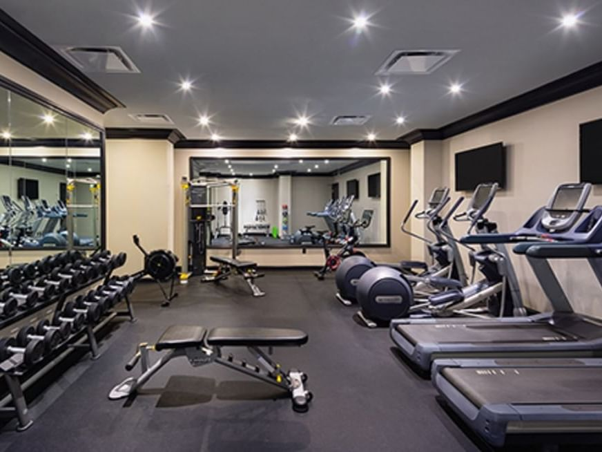 Treadmills in fitness center facility at Dream Bangkok