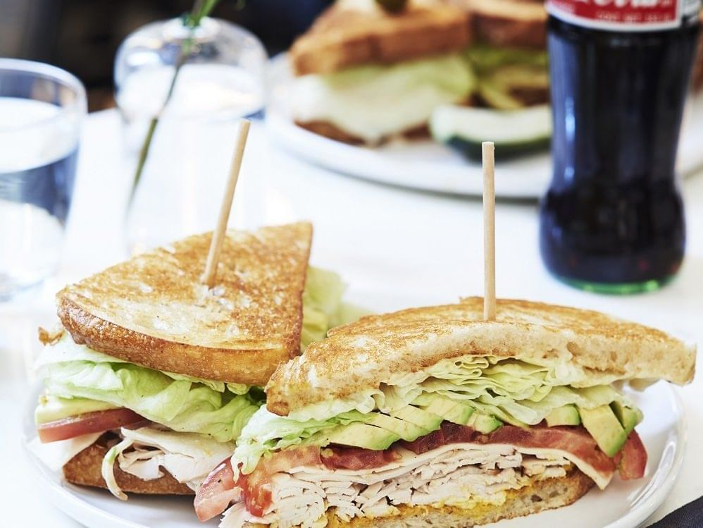 Fresh toast sandwiches with cool drink at Dream Hotels