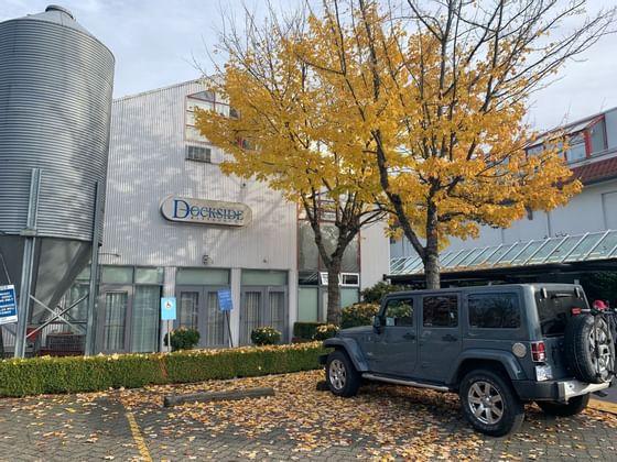 Jeep in Dockside restaurant parking at Granville Island Hotel