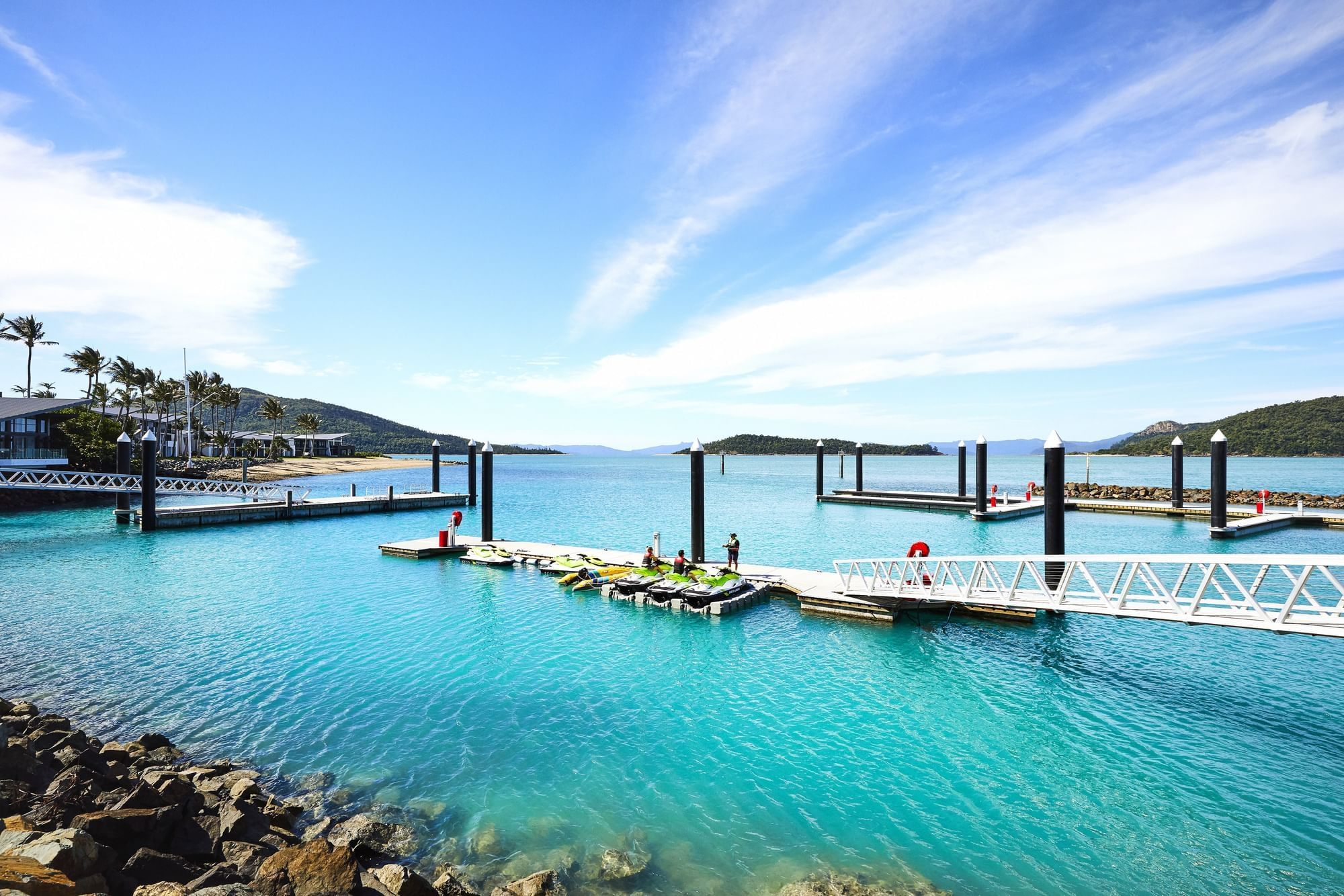 Yacht parked in ocean at Daydream Island Resort