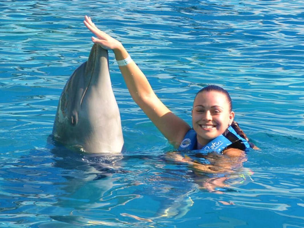 Chica nadando con delfines