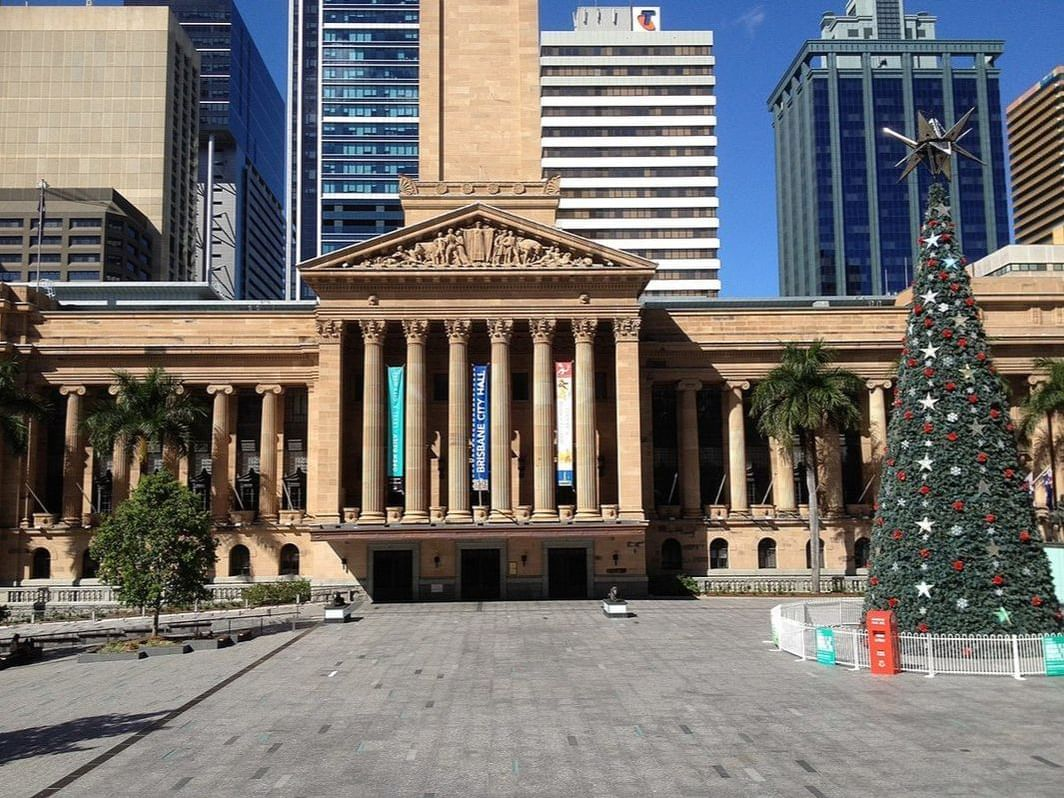 Christmas tree at King George Square near George William Hotel