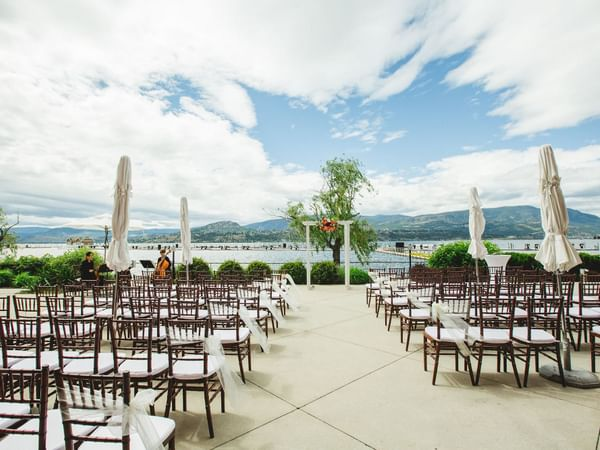A wedding ceremony arrangement at the Patio in Manteo Resort
