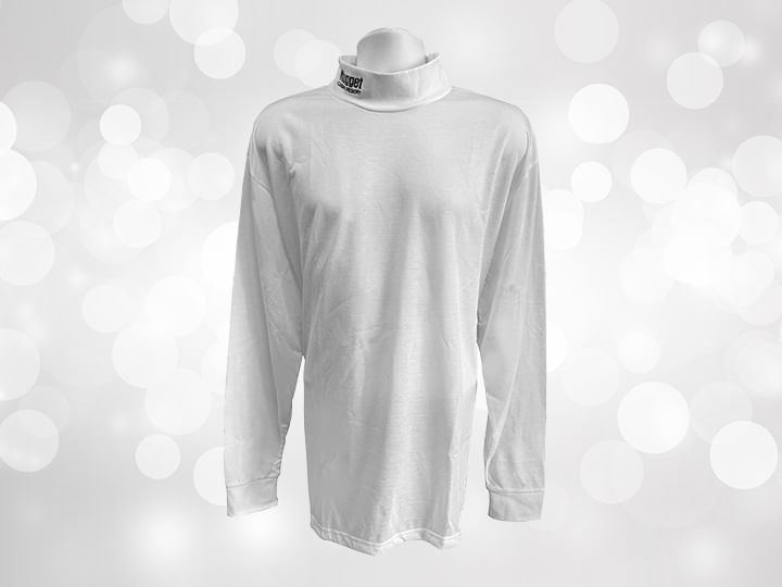 A white long sleeve turtle neck with Nugget logo on collar against silver background