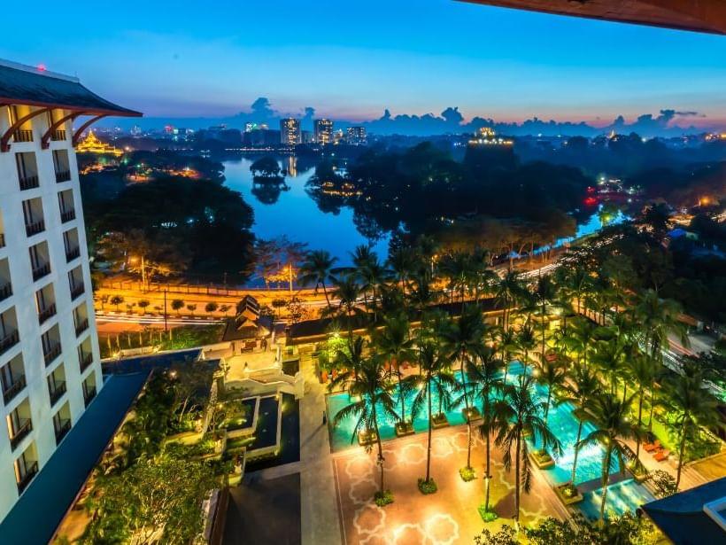 Ariel View of Chatrium Hotel Royal Lake Yangon