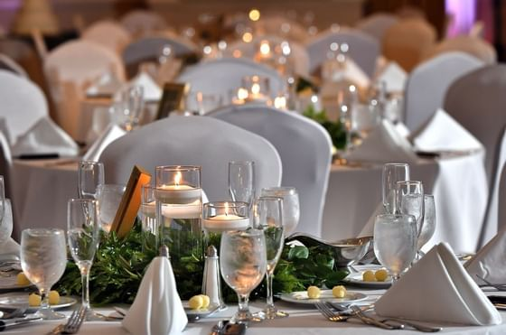 Wedding reception table decor at The Plaza Resort & Spa