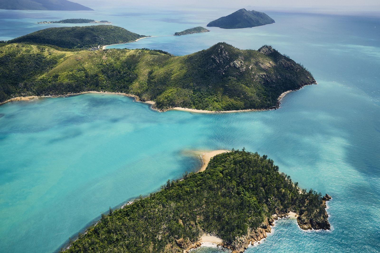 Aerial view of islands in ocean near Daydream Island Resort