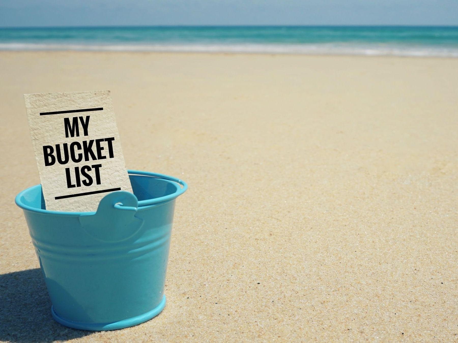 Blue bucket on beach at Daydream Island Resort