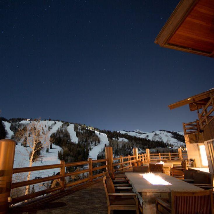 Stein Eriksen Lodge Winter Nighttime Deck Fire Pit