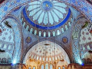 Artistic ceiling of the Blue Mosque near CVK Hotels