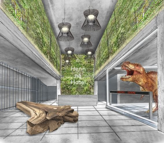 Animatronic T-Rex roaring at the Guest Lounge of Henn Na Hotel