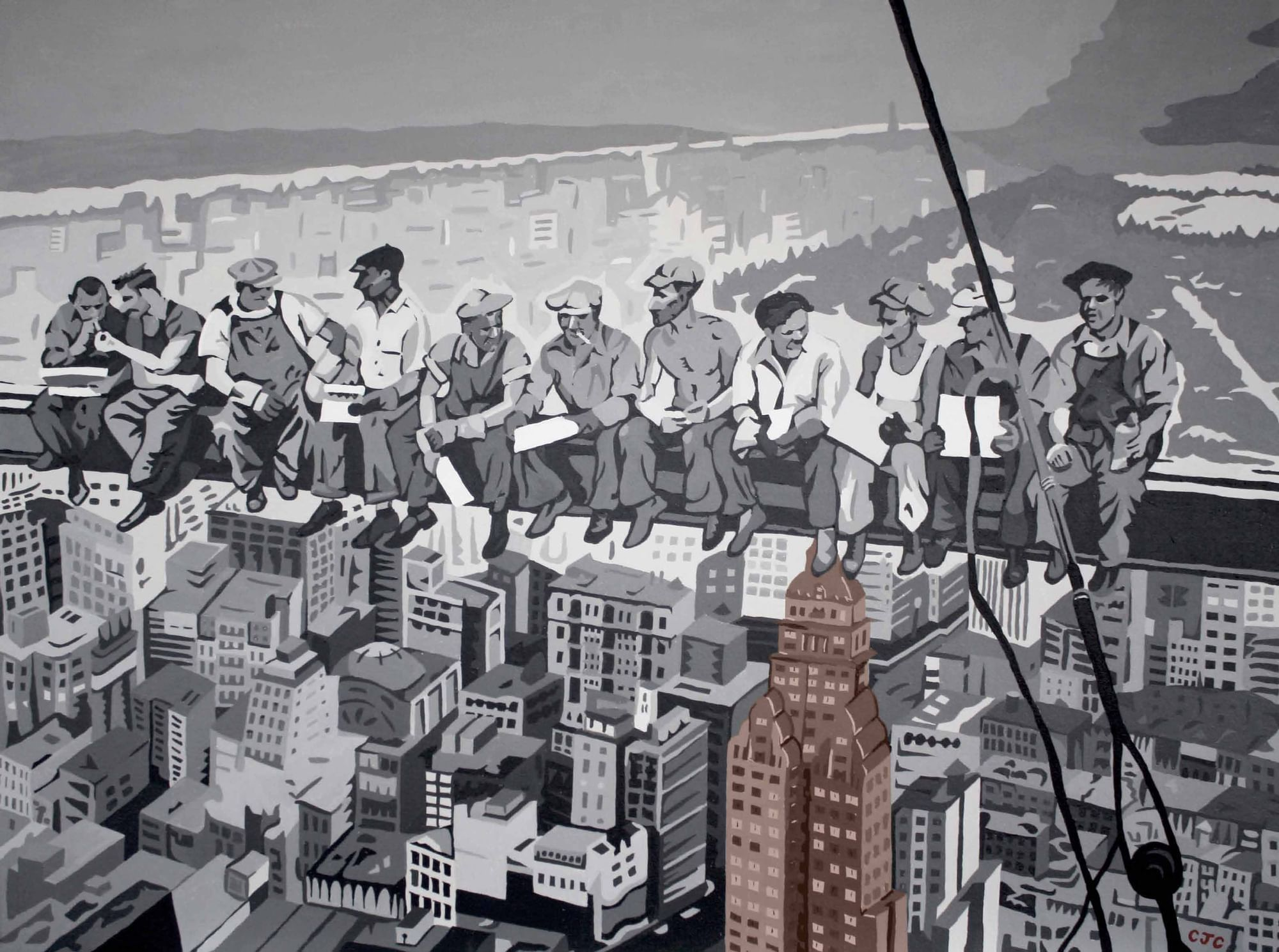 Painting lunch skyscraper