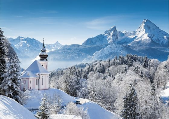 Snow mountains near Precise Tale Axelmannstein Bad Reichenhall