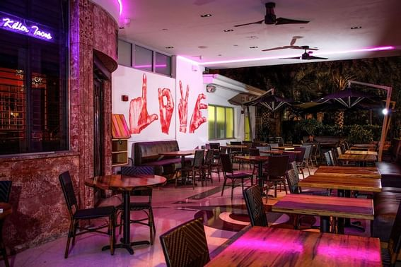 Dining room in Naked Taco at Dream south beach.
