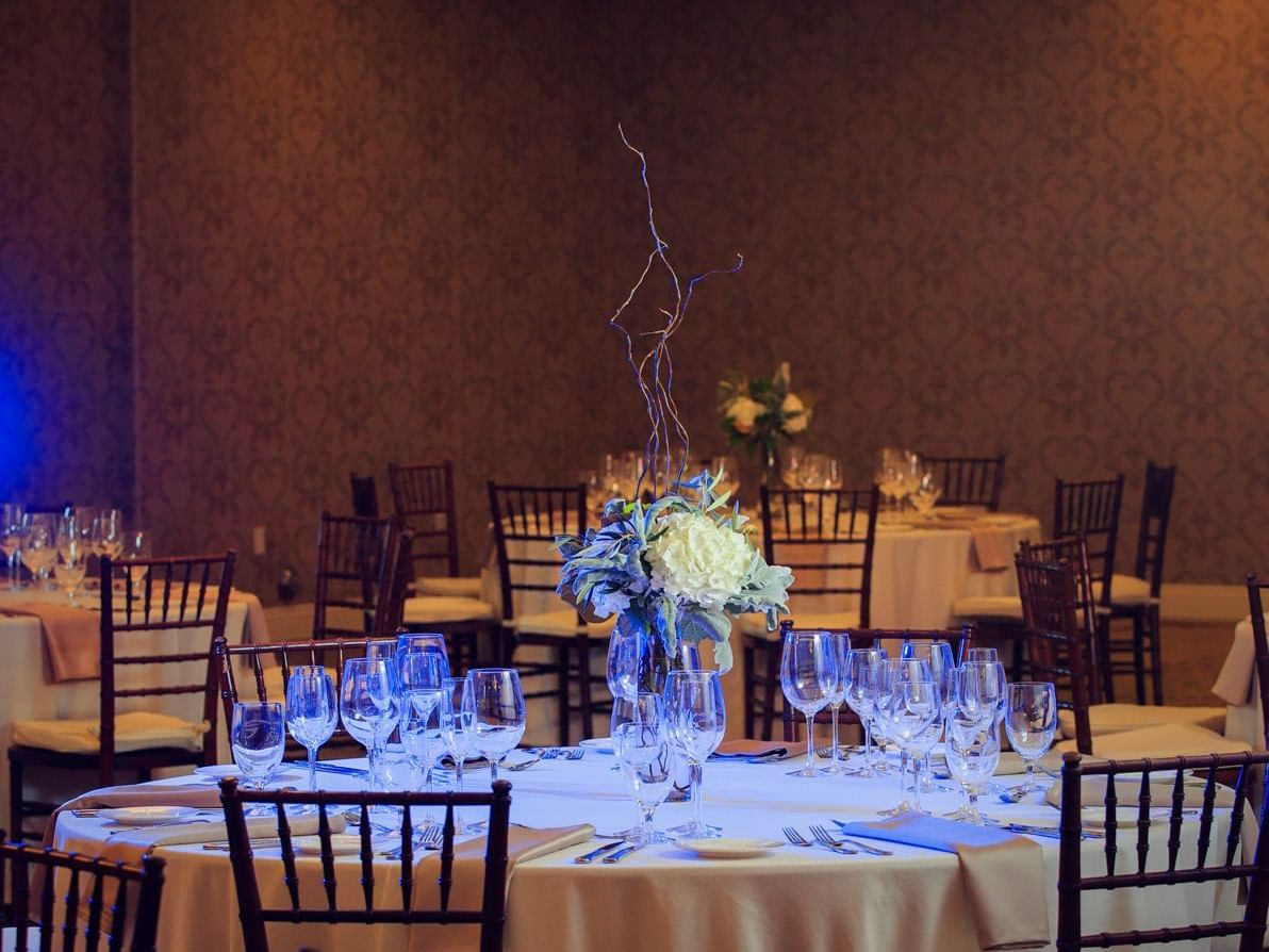 Wedding reception table and chair set up