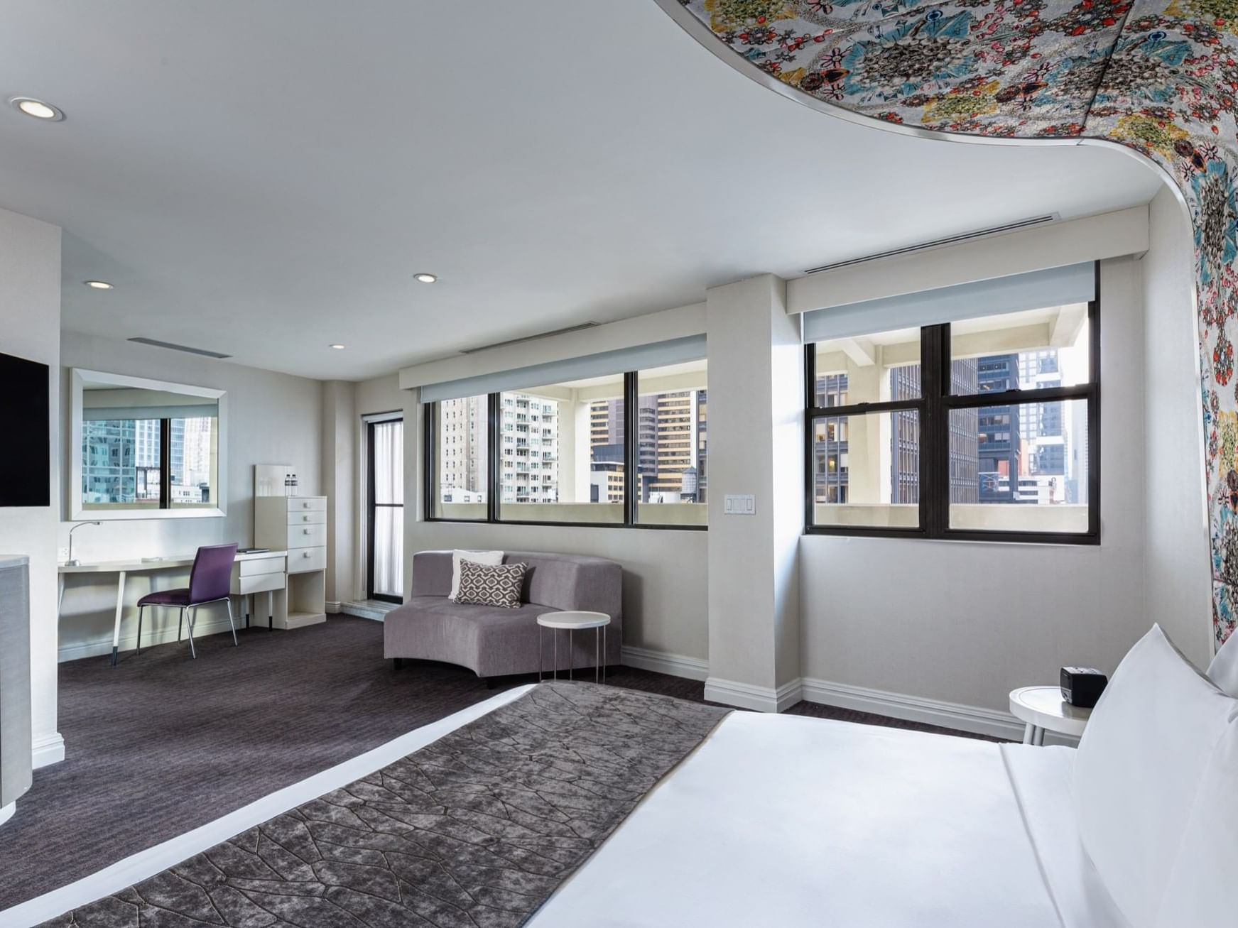 Gold suite bedroom with a King size bed at Dream Midtown NYC
