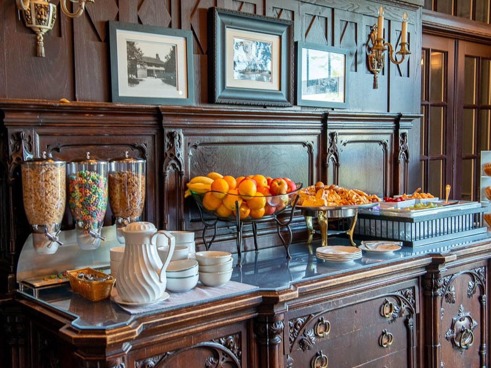 continental breakfast display with cereal and fruit