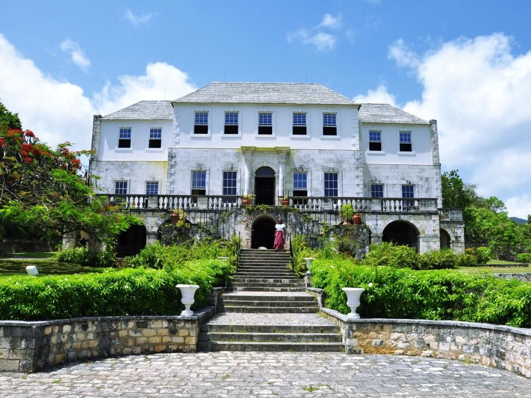 Exterior view of the Rose Hall Great House at Round Hill Hotel & Villas