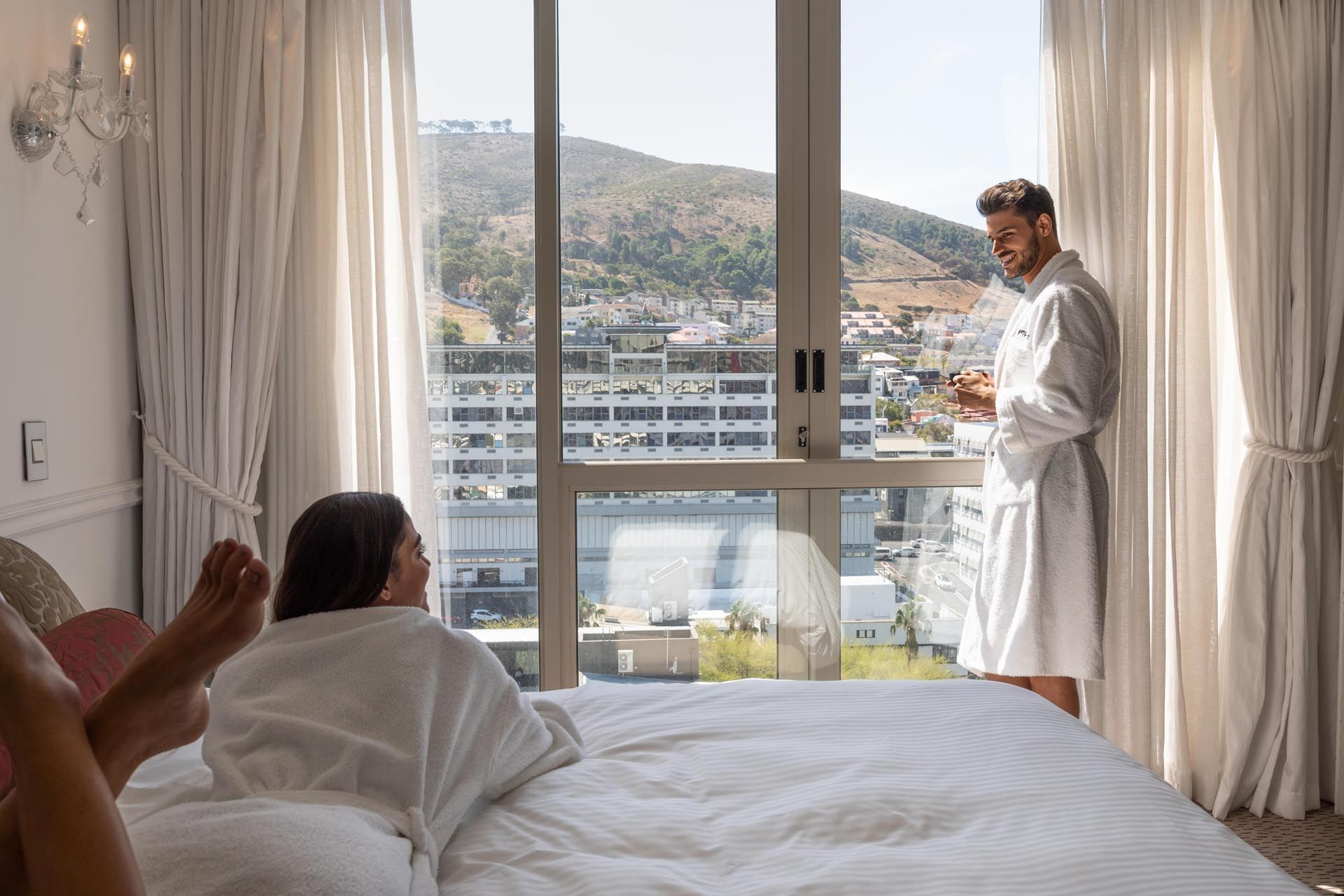 couple in robes at Pepperclub Hotel