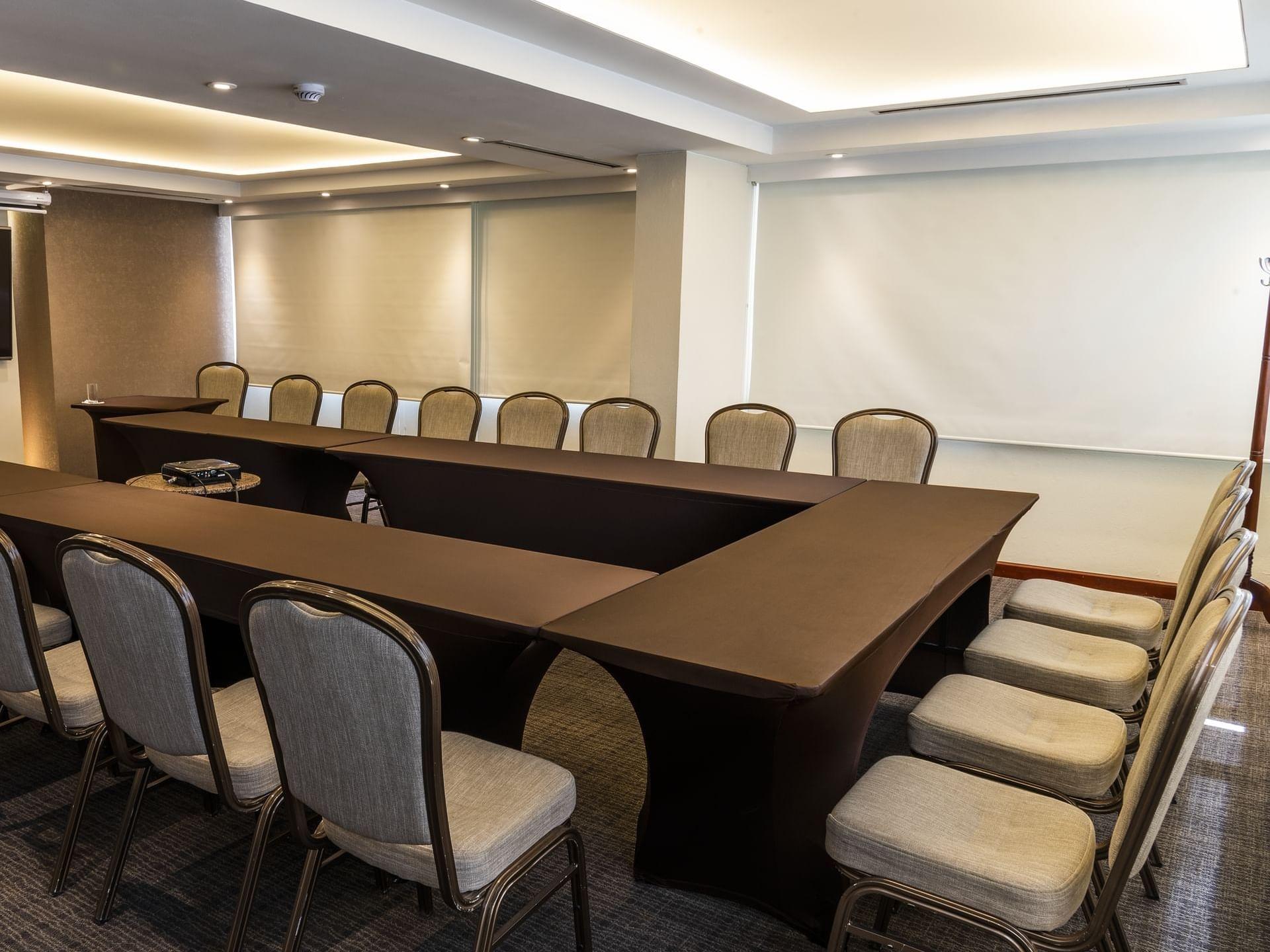 Arranged Las Aguas 2 meeting room at Bogota Plaza Hotel