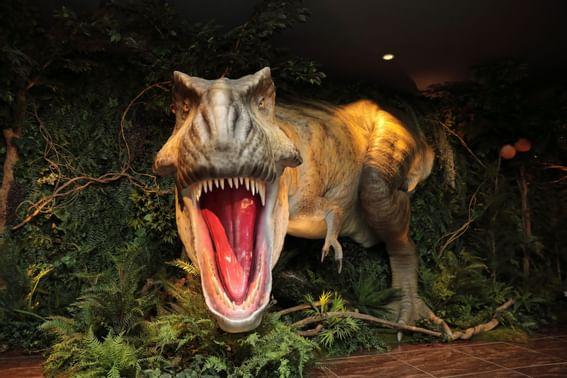 Animatronic T-Rex roaring at the lobby of Henn Na Hotel