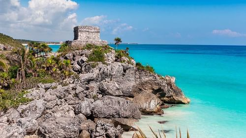 Tulum archaeological site with ocean view near The Reef Resorts