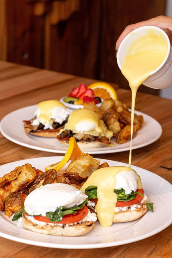 chilled cork style eggs benedict brunch at the chilled cork
