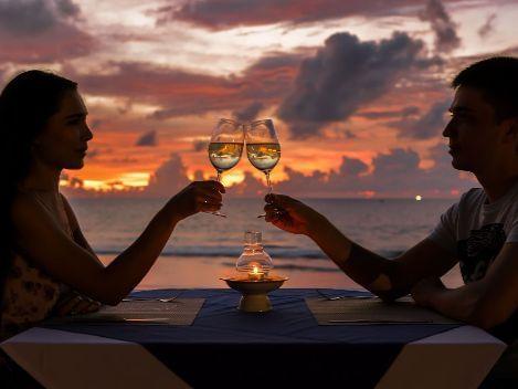 A couple having a toast