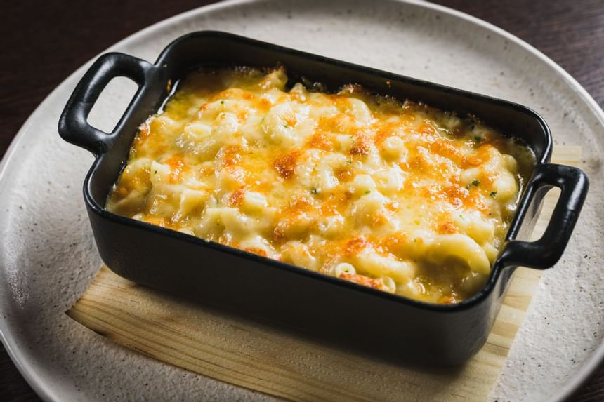 View of lobster macaroni cheese at Steak & Lobster Restaurants
