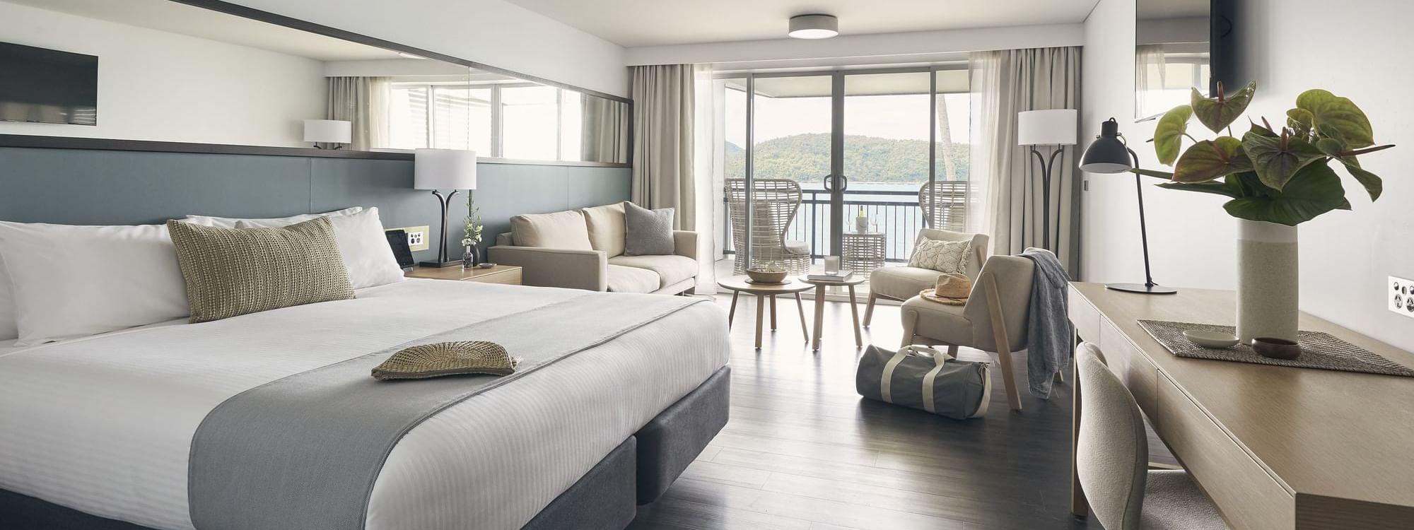 Deluxe Ocean Terrace room at Daydream Island Resort