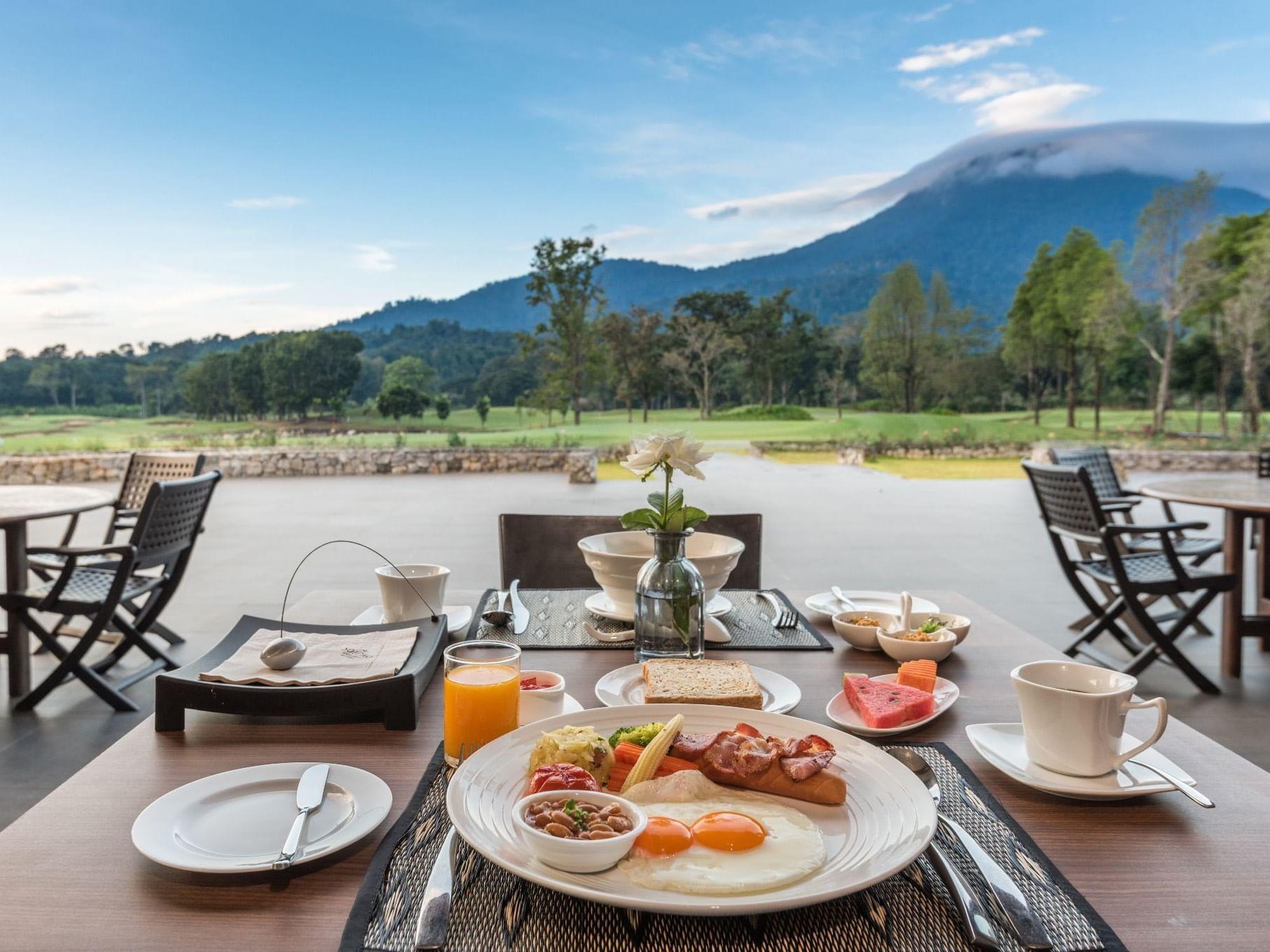Breakfast served in Chatrium Golf Resort at Soi Dao Chanthaburi