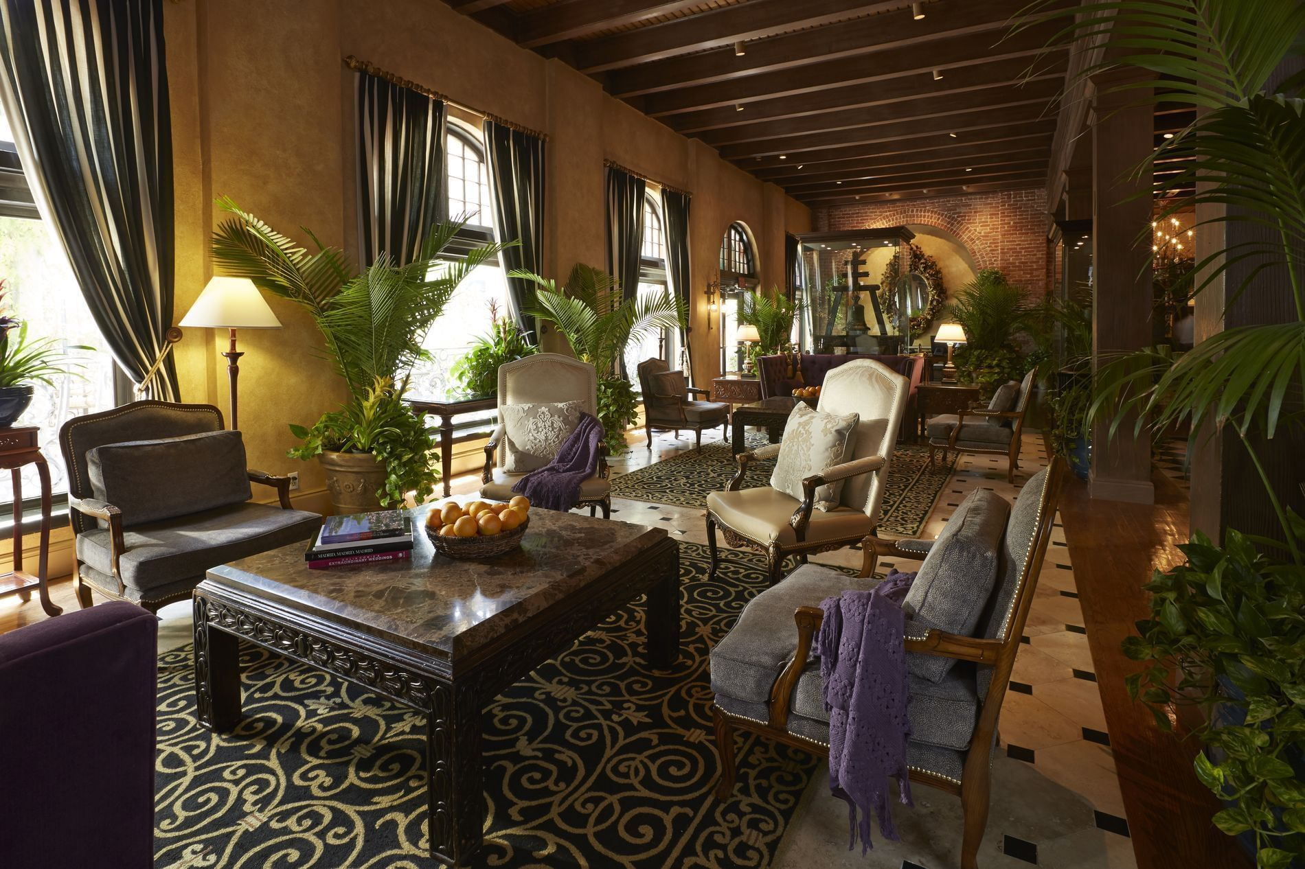 Mission Inn lobby with seating and coffee tables