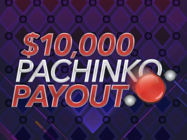 $10,000 Pachinko Payout Drawings Promo Logo on purple background