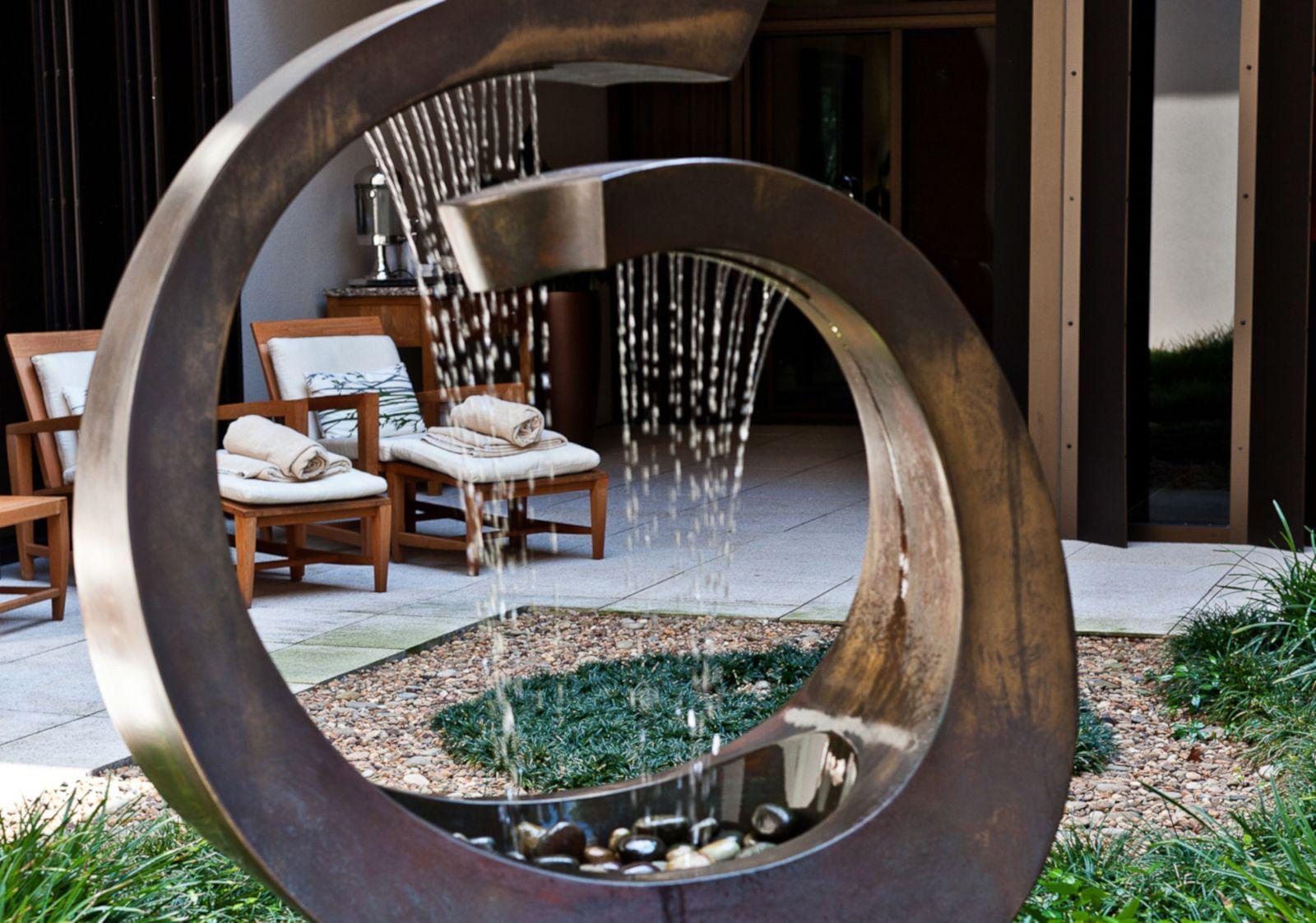 meditation garden with fountain