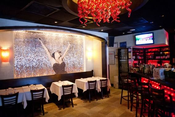 Dining room ,meeting room with buffet at Dream Mid Town NYC.